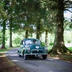 Wedding car arriving at Mabie House